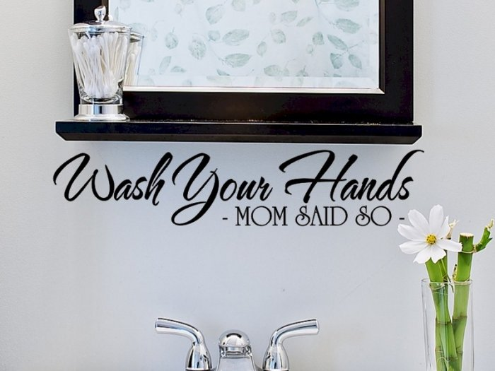 wall quote sticker decal wash your hands mom said so bathroom wall decor