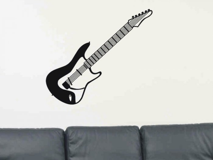 Electric Guitar wall decal living room or family room room decor