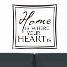 wall quote sticker decal Home is where your heart is