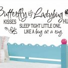 wall quote decal sticker butterfly kisses and ladybug hugs