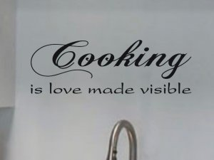 kitchen decor wall decal cooking is love made visible