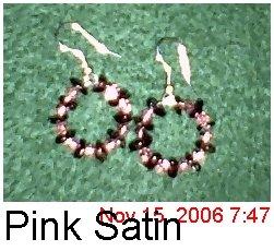 Garnet & Pink Satin Hoops