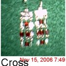 Red Cross Crystal Ear Rings