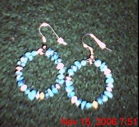 Large Turquoise & Cat Eye Hoops