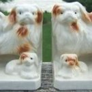 VINTAGE PEKINGESE DOG & PUPPIES BOOK END SET - JAPAN