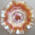 VINTAGE CARNIVAL GLASS GRAPES & IVY RUFFLED CANDY DISH