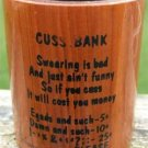 """VINTAGE SOUVENIR WOODEN """"CUSS"""" BANK Lebanon, Mo. Ozarks"""