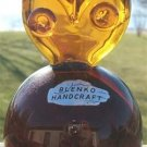 VINTAGE BLENKO HANDCRAFT AMBER GLASS OWL PAPER WEIGHT