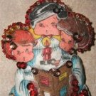 VINTAGE FELT CHRISTMAS CAROLER ORNAMENTS w/ SEQUINS!