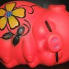 VINTAGE BRIGHT ORANGE SLEEPING PIGGY BANK  JAPAN  NICE!