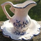 VINTAGE MINIATURE BLUE & WHITE PITCHER w/ LINER PLATE