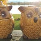 VINTAGE OWL SUGAR BOWL & CREAMER SET - MOVABLE EYES!!