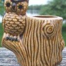 VINTAGE OWL ON STUMP TOOTHPICK HOLDER - WISE!!