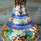 COPPER BUD VASE w/ RAISED FLORAL DESIGN - COLORFUL!!