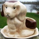 VINTAGE SPOTTED PUPPY PLANTER & LINER COMBO SELF WATER!