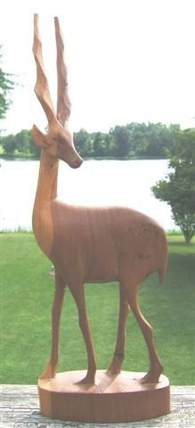 GENUINE BESMO HAND CARVED WOODEN ANTELOPE - VINTAGE!