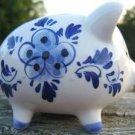 VINTAGE DELFT BLUE PIGGY BANK - D.A.I.C. Hand Painted!