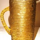 Vintage Gold Rippled Glass Pitcher NICE!!