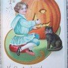 VINTAGE GIRL, BLACK CAT & PUMPKIN HALLOWEEN POST CARD