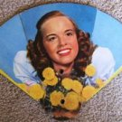 VINTAGE FOLD OUT CHURCH FAN with MOBILGAS ADVERTISEMENT