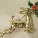 Christmas Reindeer Pin w/ Holly & Green Rhinestone Eyes