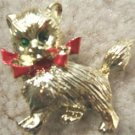 VINTAGE GERRY'S CAT PIN w/ RHINESTONE EYES (SIGNED)