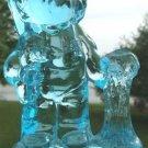AQUA BLUE GLASS BOY & PUPPY FIGURINE - R. WETZEL 1976