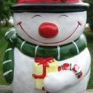 VINTAGE SMILING SNOWMAN W/ BLACK TOP HAT COOKIE JAR