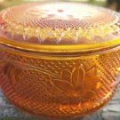 TIARRA GLASS AMBER POWDER JAR & COVER INDIANA GLASS 60s