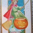 VINTAGE LSC PRETTY WITCH HALLOWEEN POST CARD BEAUTIFUL!