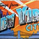 """VINTAGE """"Greetings from NEW YORK CITY"""" POST CARD K6196"""