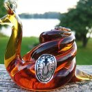 VINTAGE PILGRIM HAND BLOWN AMBER GLASS SNAIL FIGURINE