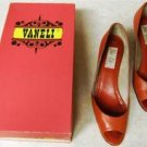"RED ""VAN ELI"" OPEN TOE LEATHER PUMPS 8N  MADE IN ITALY"