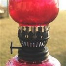 VINTAGE RED CUT GLASS OIL LAMP - JAPAN DIAMOND PATTERN