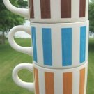VINTAGE STACKABLE CERAMIC MUGS w/ VERTICAL STRIPES (3)