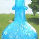 VINTAGE BLUE & SPLASH WHITE BLOWN GLASS BUD VASE PONTIL