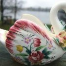 Vintage SWAN Planter w/ GOLD TRIM & FLOWERS JAPAN WOW!