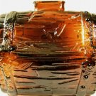 Anchor Hocking Dark Amber Glass Treasure Chest Bank