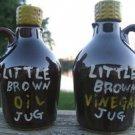 """VINTAGE """"Little Brown Jug"""" OIL & VINEGAR SET JAPAN"""