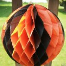 ORANGE & BLACK HONEYCOMB BALL HALLOWEEN DECORATION 40's