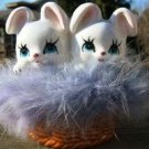 "NORLEANS ""BUNNIES IN A BASKET"" FIGURINE - RABBIT FUR!"