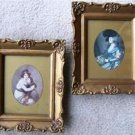 "VICTORIAN ""WOMAN/PET"" & ""MOTHER/CHILD"" FRAMED PRINTS"