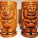 3-D TIKI God Mugs (2) Brown Pottery