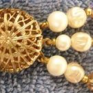 Aurora Borealis & Faux Pearl Three Stranded Bracelet