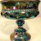 Carnival Glass Compote Dish - Blue & Purples