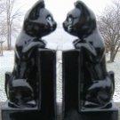 VINTAGE BLACK CAT BANKS & BOOK END SET - VERY UNIQUE!