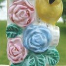 VINTAGE PARROT & FLOWERS BUD VASE - MADE IN JAPAN