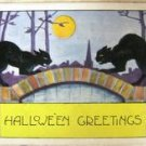 VINTAGE WHITNEY MADE HALLOWEEN POST CARD - BLACK CATS!