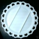 VINTAGE MILK GLASS HEART LACED RELISH PLATE - L@@K!