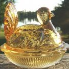 VINTAGE INDIANA GLASS AMBER TURKEY ON NEST DISH 1950's